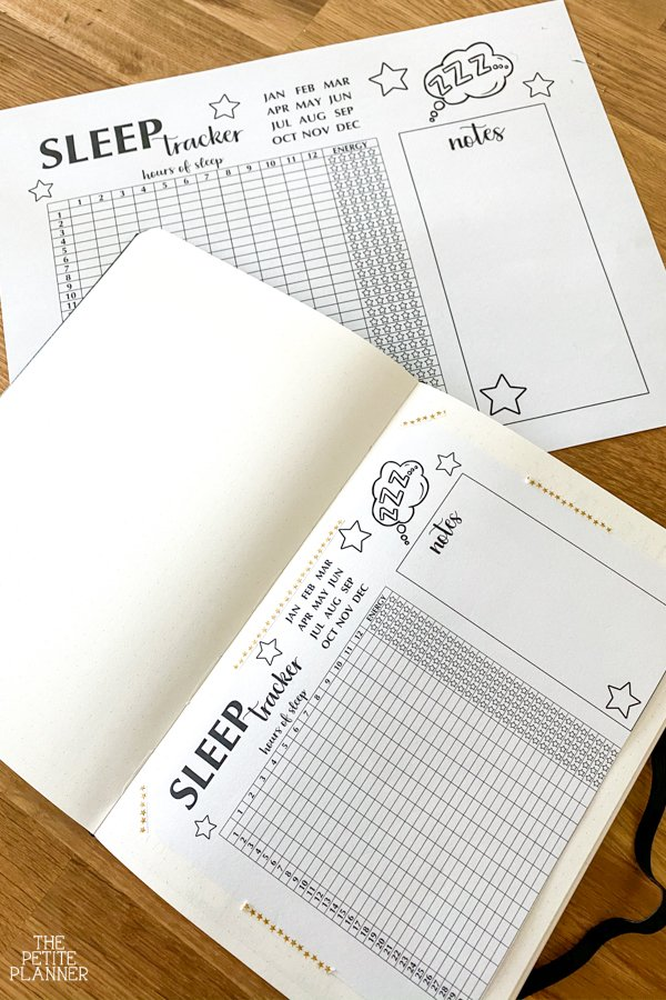 Printable sleep tracker for bullet journal