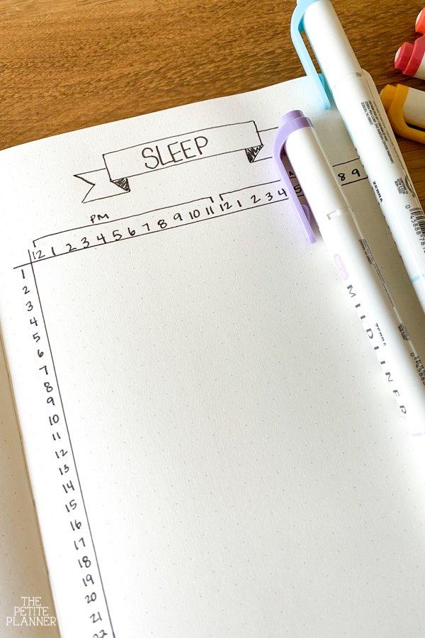 Sleep Tracker Bullet Journal page