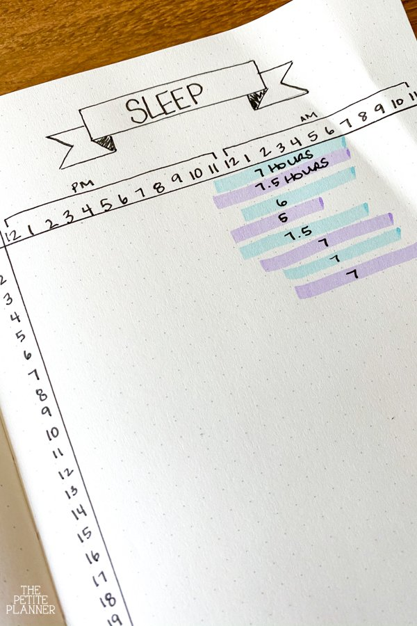 Habit tracker sleep using purple and blue colors to track hours slept