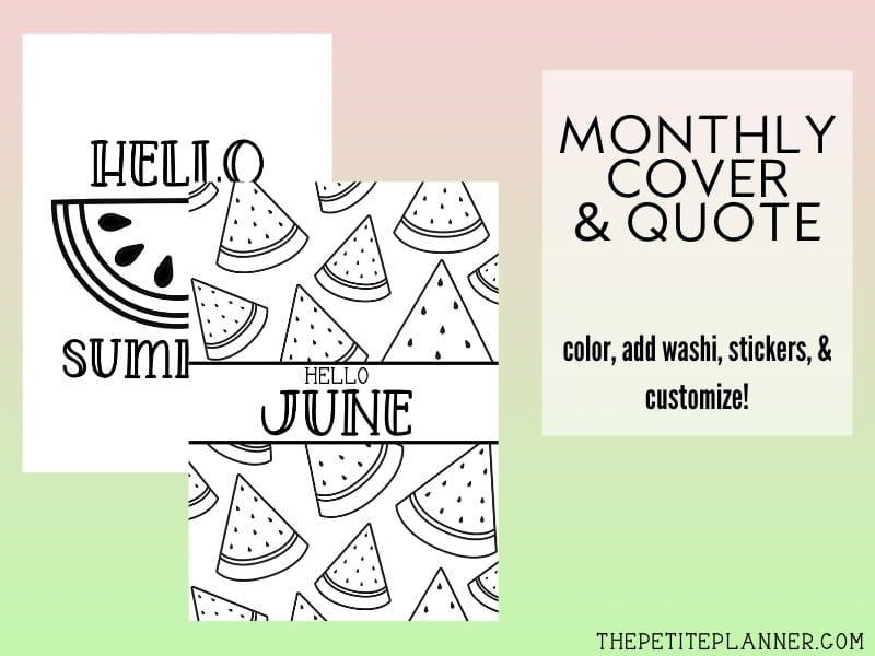 June Bullet Journal Printable Theme