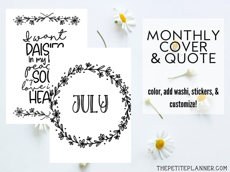 Small images of the pages included in the July Bullet Journal Theme using daisy doodles theme