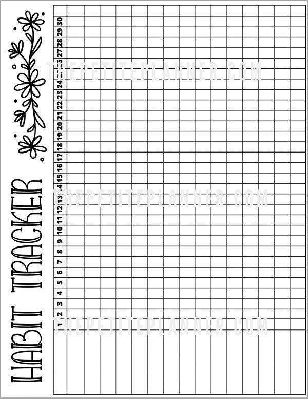 Watermarked copy of daisy themed habit tracker