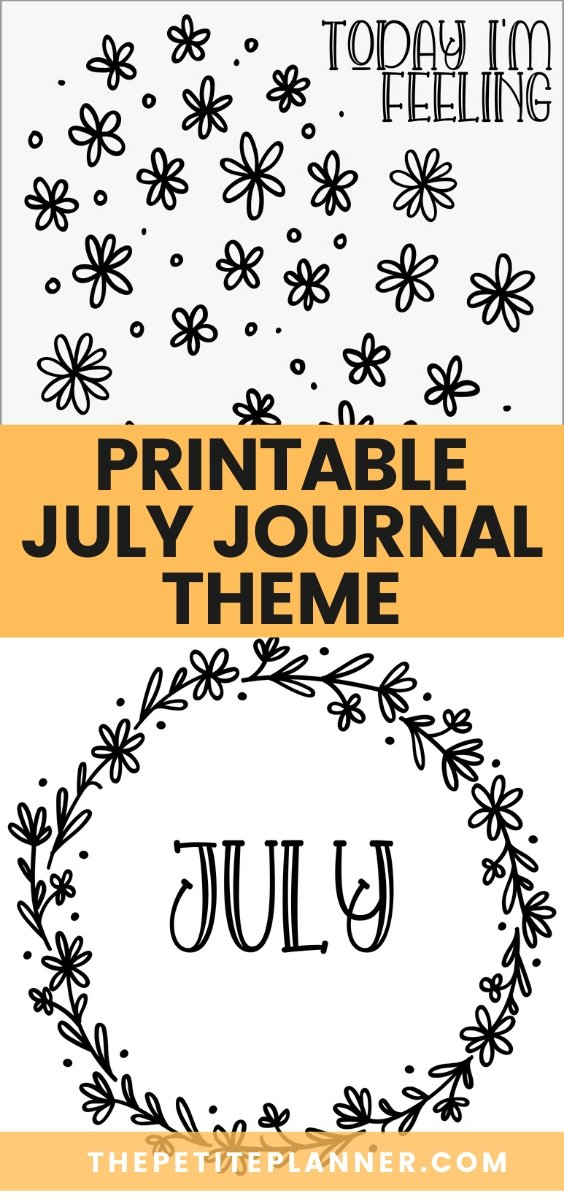 Image with graphics from printable July journal pages featuring daisy doodles