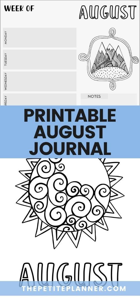 Printable August Journal Theme