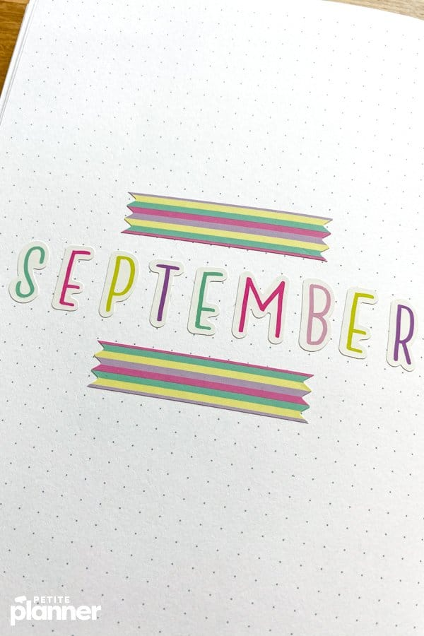 September bullet journal with letter stickers