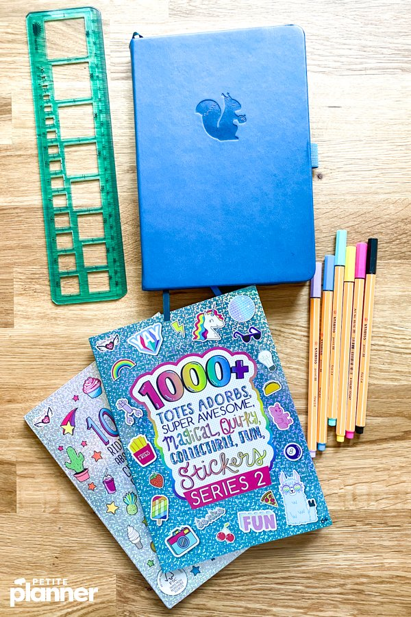 Bullet journal supplies and sticker books