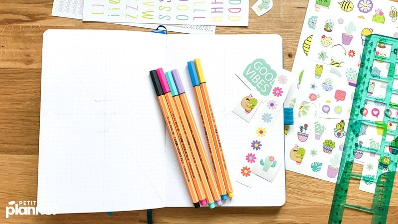 September Bullet Journal Ideas with stickers