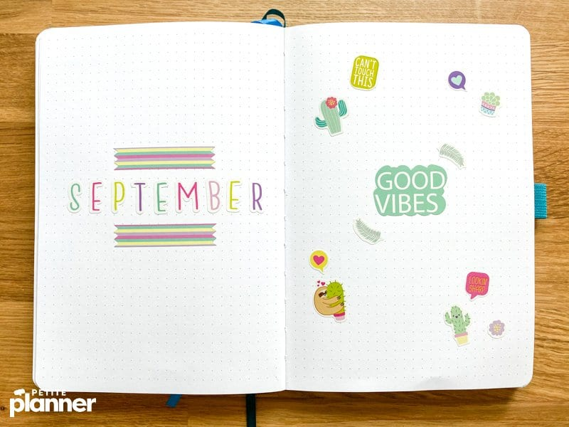 September Bullet Journal Theme with stickers