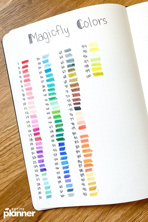Magicfly markers color swatches in journal