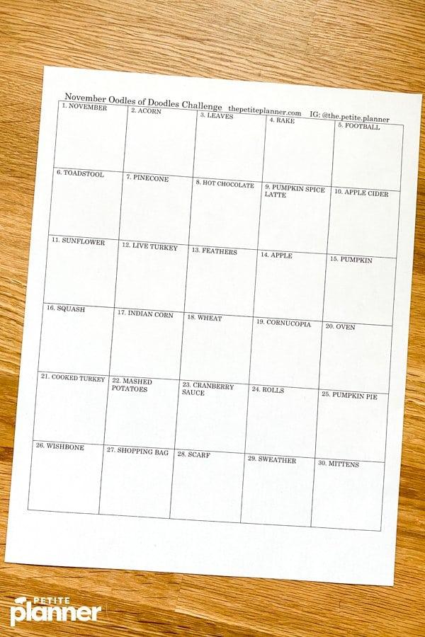 Printable November Doodle Challenge Prompts