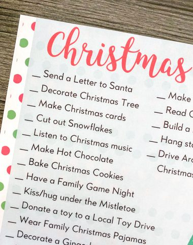 Printable Christmas activities list