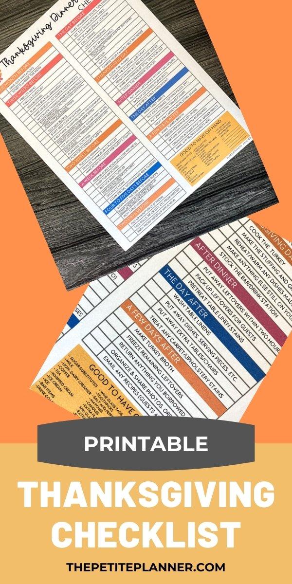 Free Printable Thanksgiving Checklist
