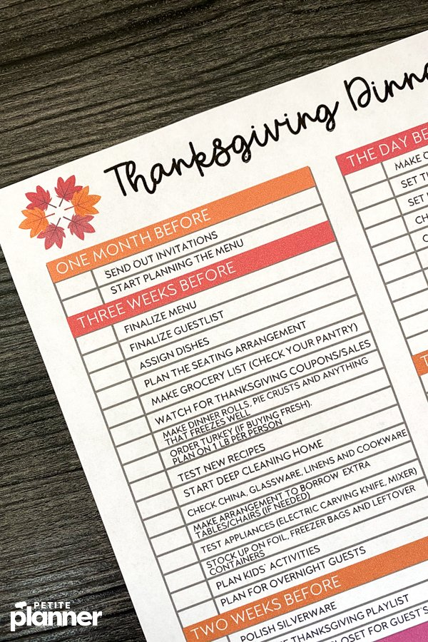 Close up of printable Thanksgiving planning checklist