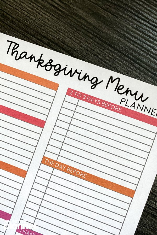 Thanksgiving Menu Planner with dishes and timing columns