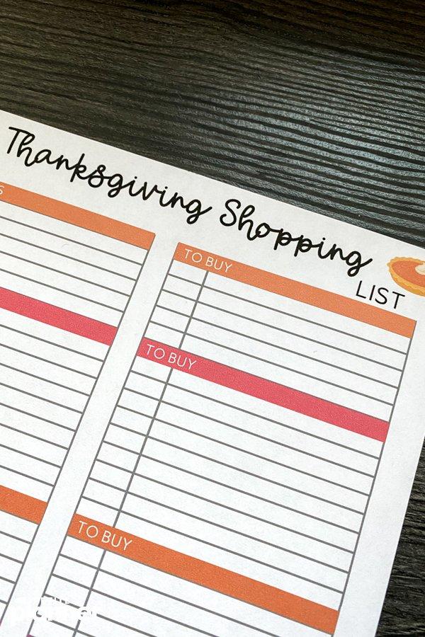 Printable Holiday Meal Shopping List