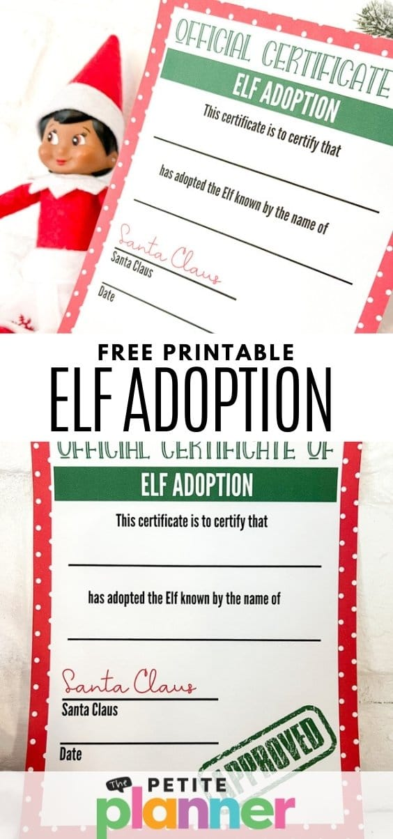 Printable Elf on the Shelf Adoption Certificate