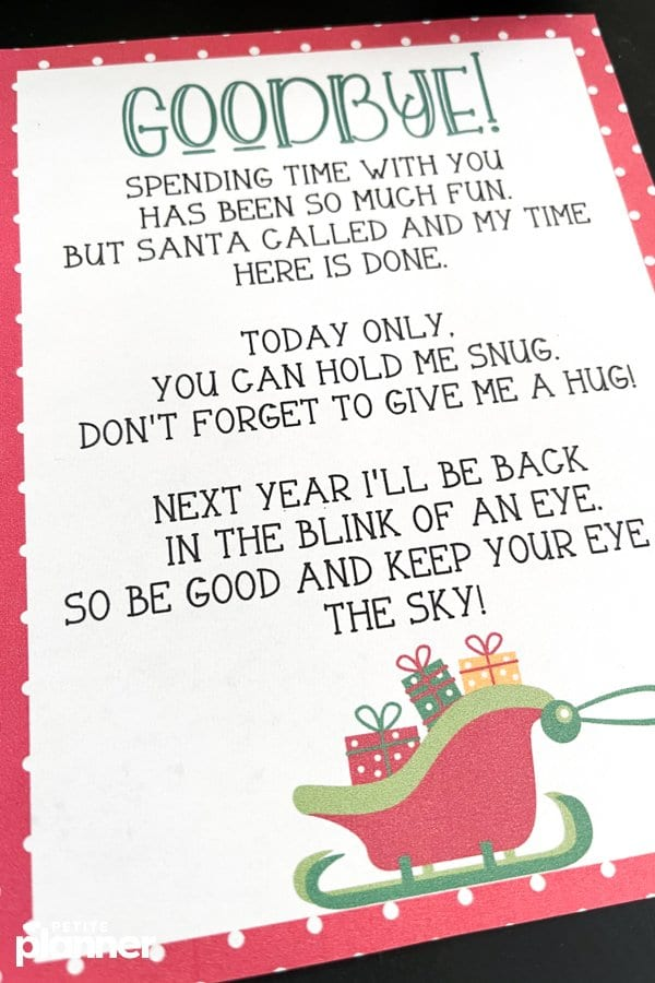 Printable Elf on the Shelf Departure Letter
