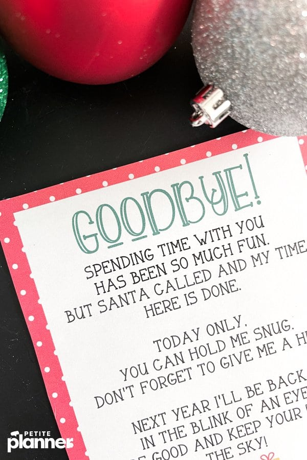Printable Elf on the Shelf Farewell Letter