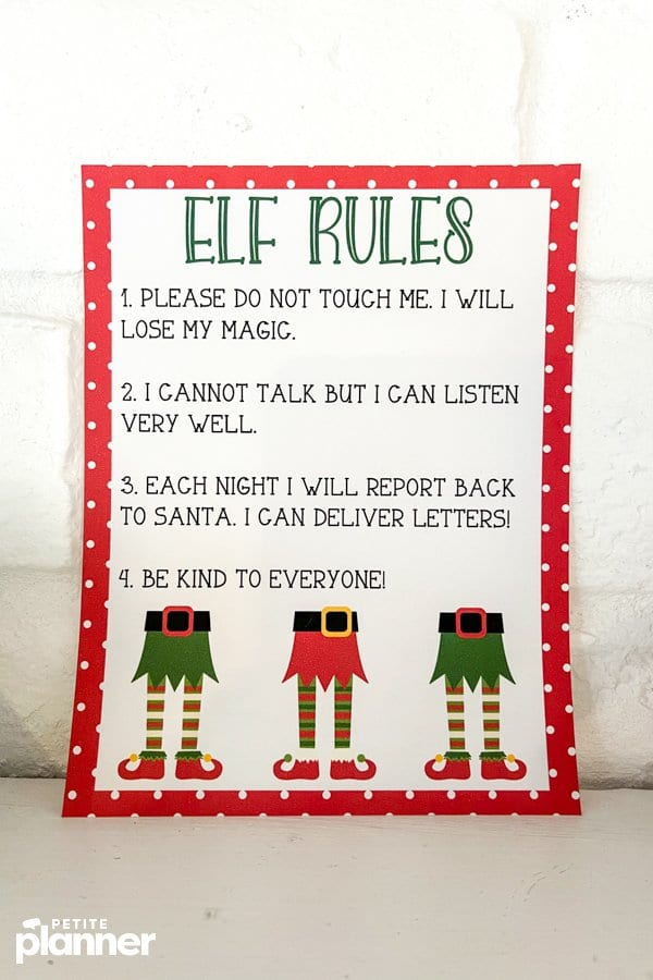 Rules for Elf on the Shelf