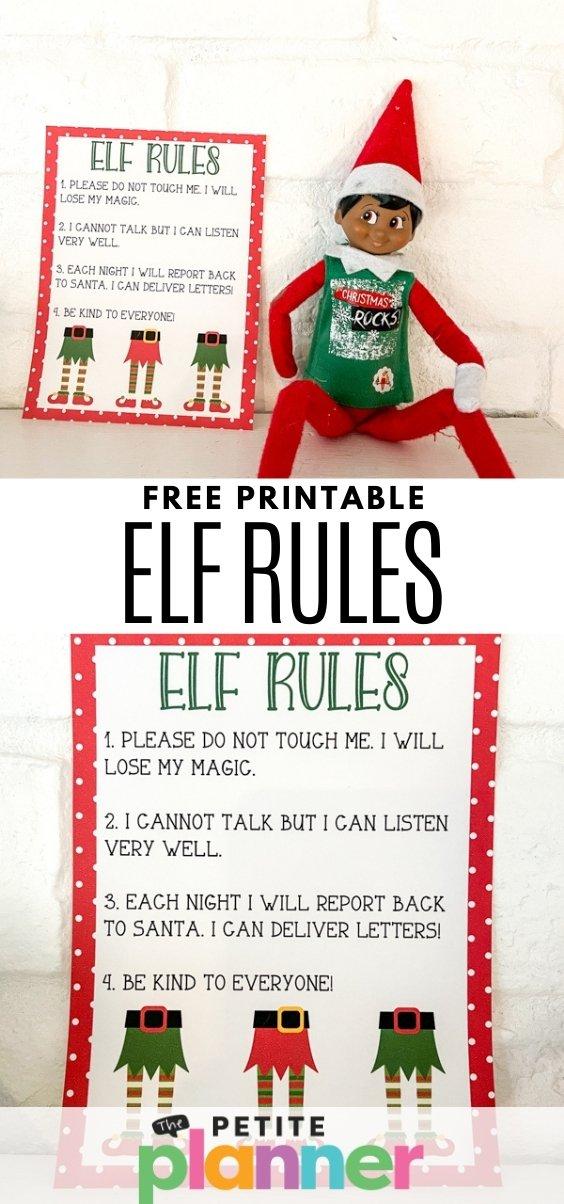 Free Printable Elf on the Shelf Rules