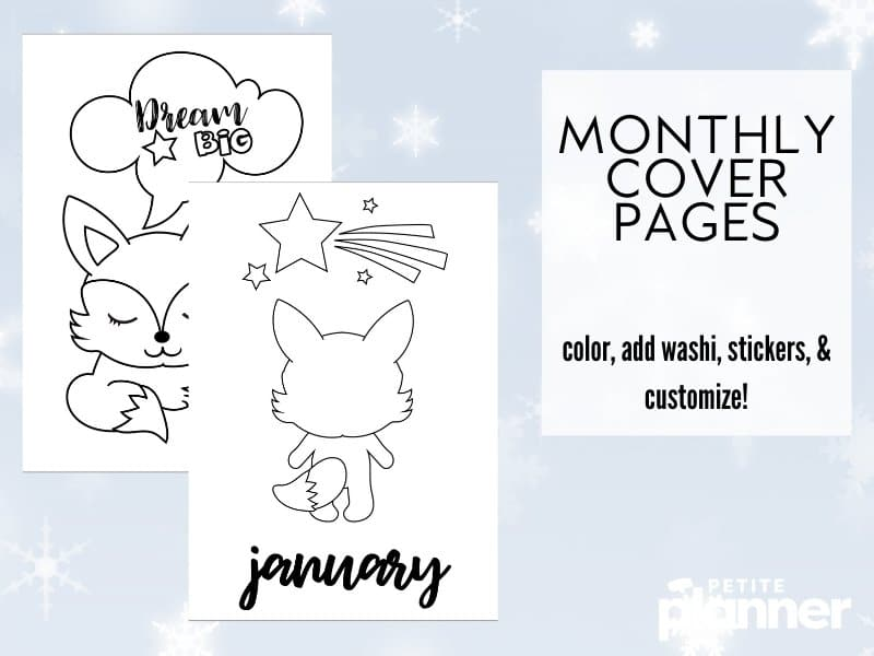 January Bullet Journal Theme printable featuring foxes