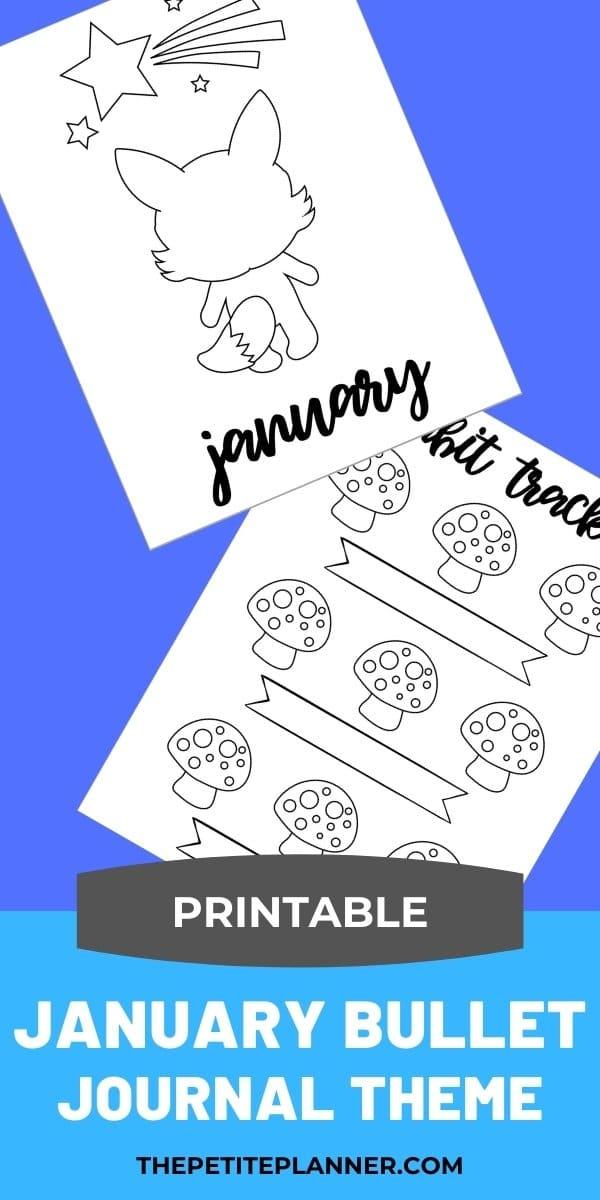January Bullet Journal theme printable