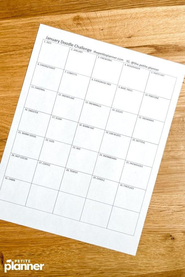 Free printable January drawing challenge page