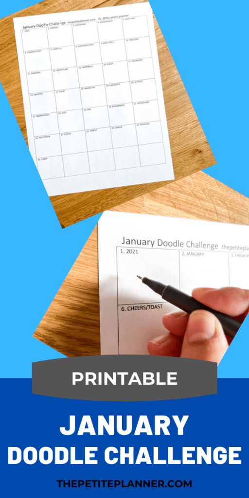 January Doodle Challenge with prompts and printable drawing page