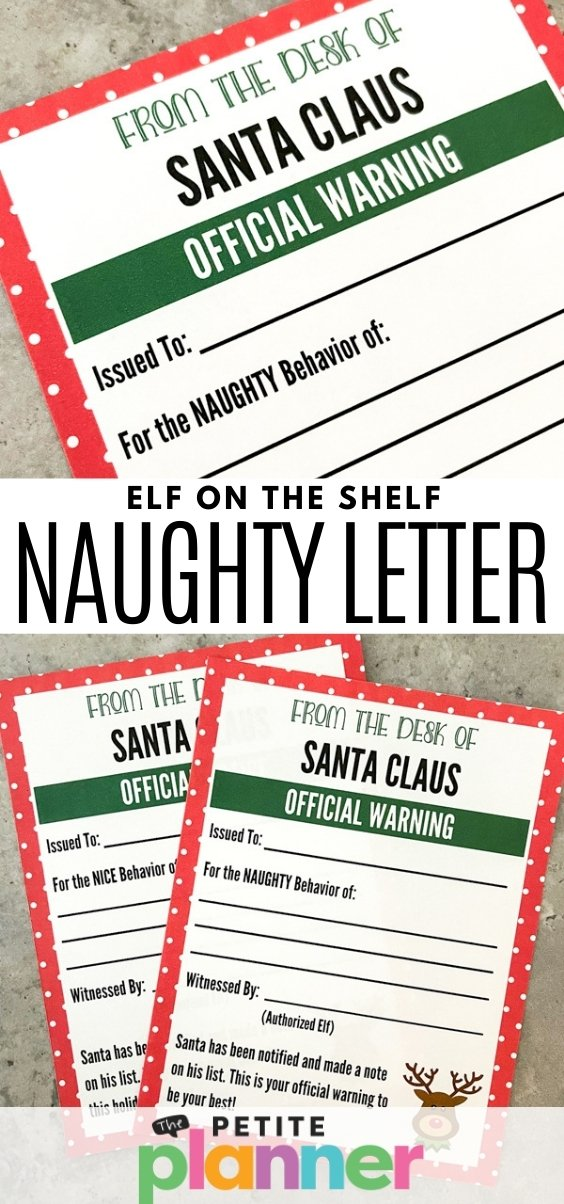 Free Printable Elf on the Shelf Naughty Letter
