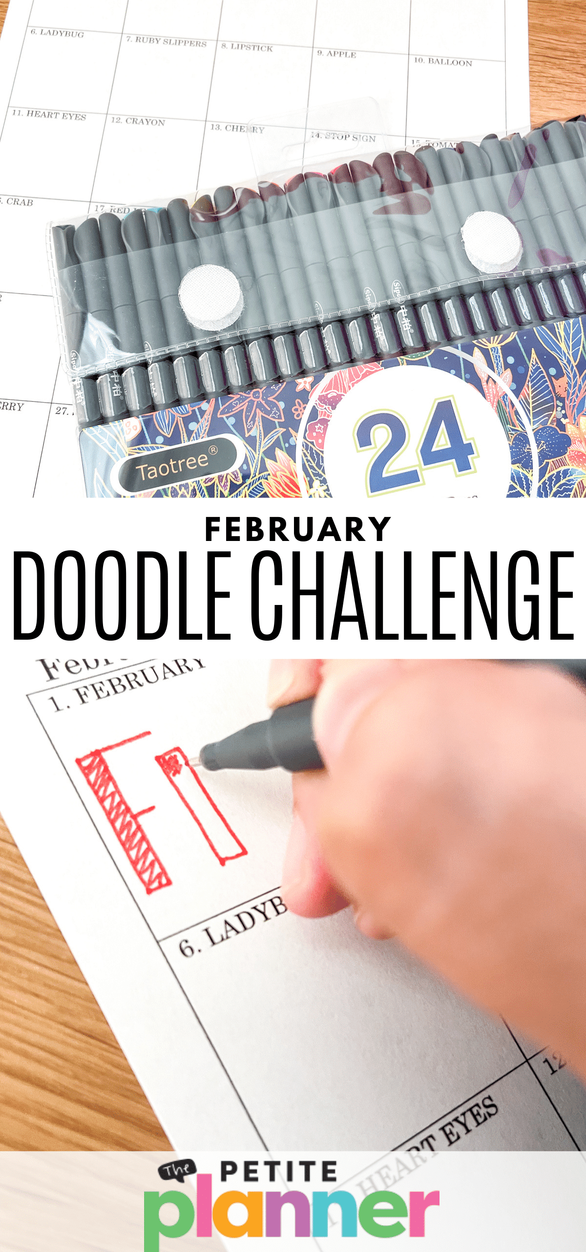 February Drawing Challenge Prompts and Free Printable