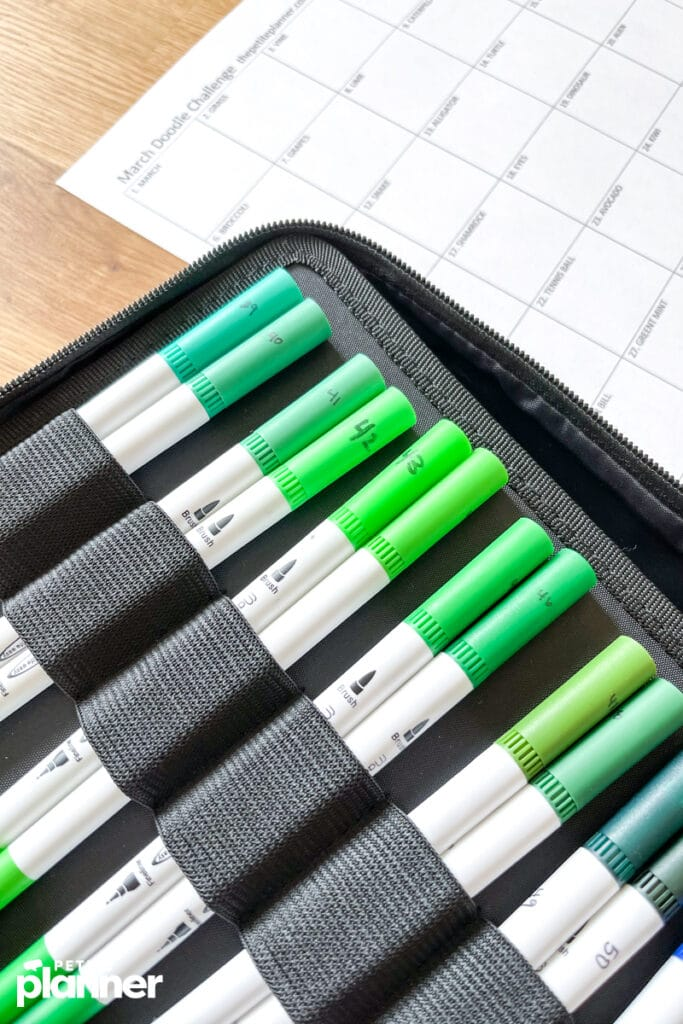Green dual tip brush markers