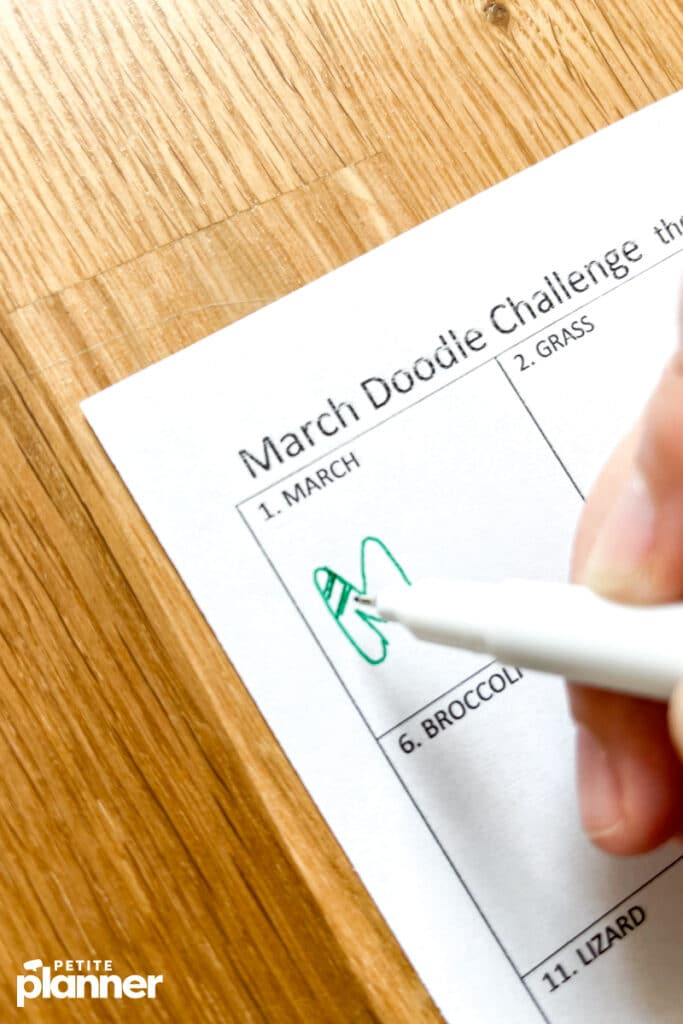 March doodle challenge page with prompts