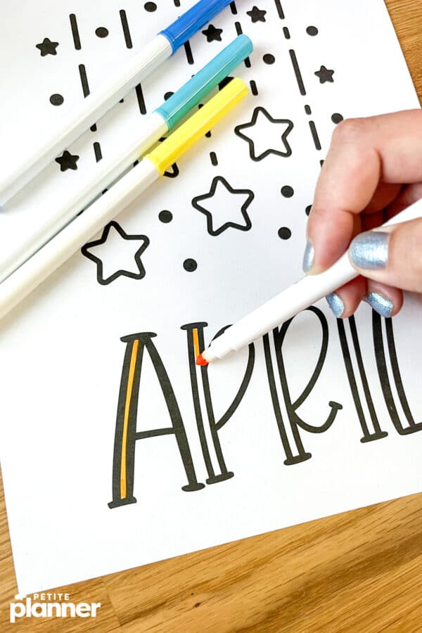 April Monthly Cover Page Printable coloring using Crayola Supertips markers