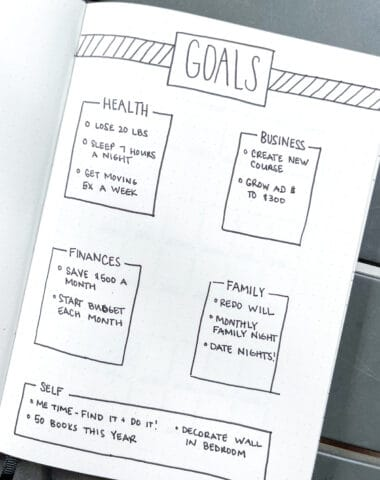 Black and white minimalist bullet journal goals page idea