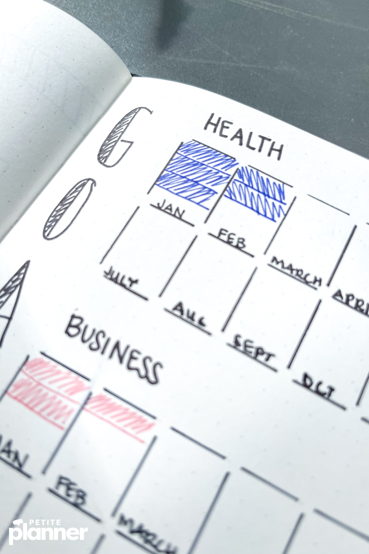 Monthly bullet journal goals layout