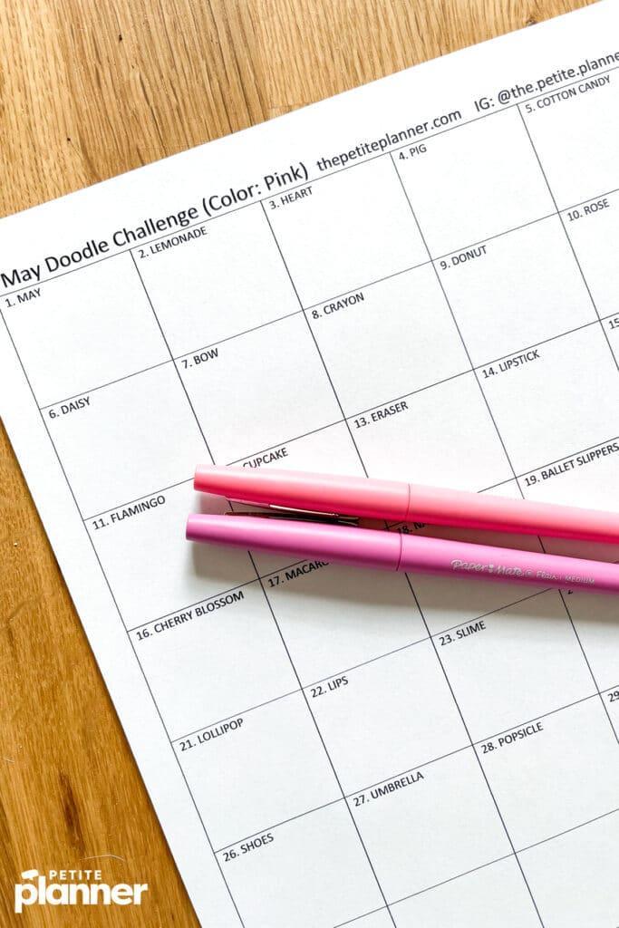 Printable May doodle challenge with pink pens
