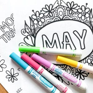 Printable May Bullet Journal cover page with Crayola markers