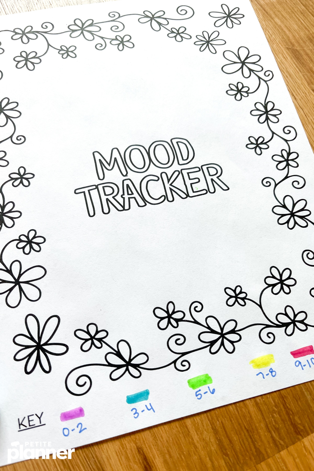 Floral themed mood tracker printable page