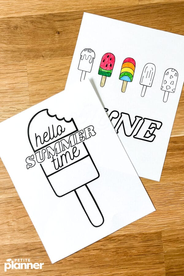 Popsicle theme bullet journal pages