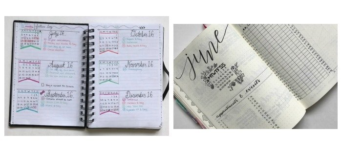 Bullet journal examples beginner and more experienced