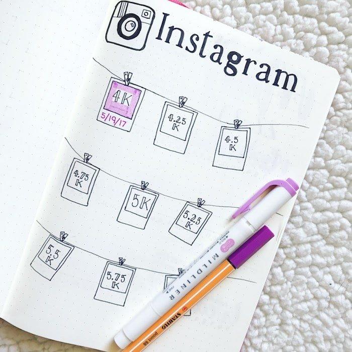 Instagram Followers tracker in bullet journal