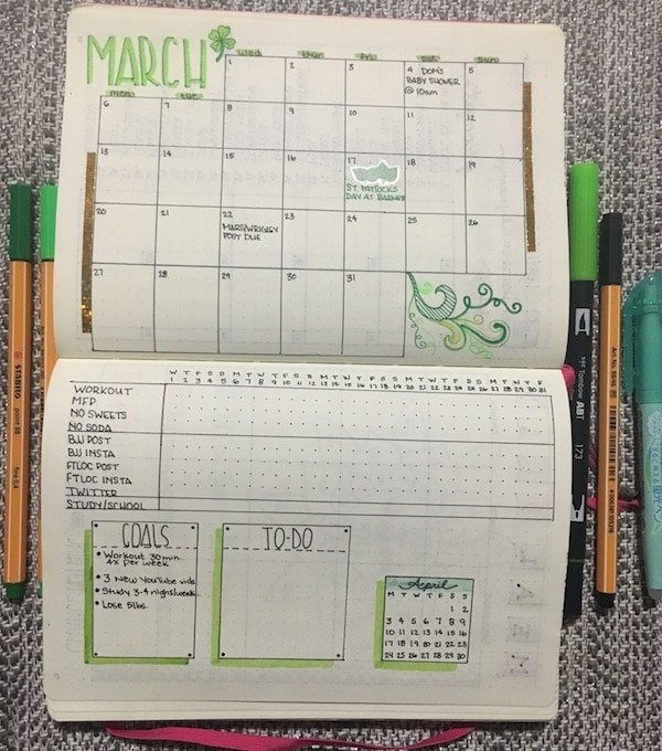 March bullet journal monthly spread done with green markers