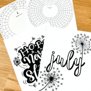 Printable planner pages with dandelion clip art on each page