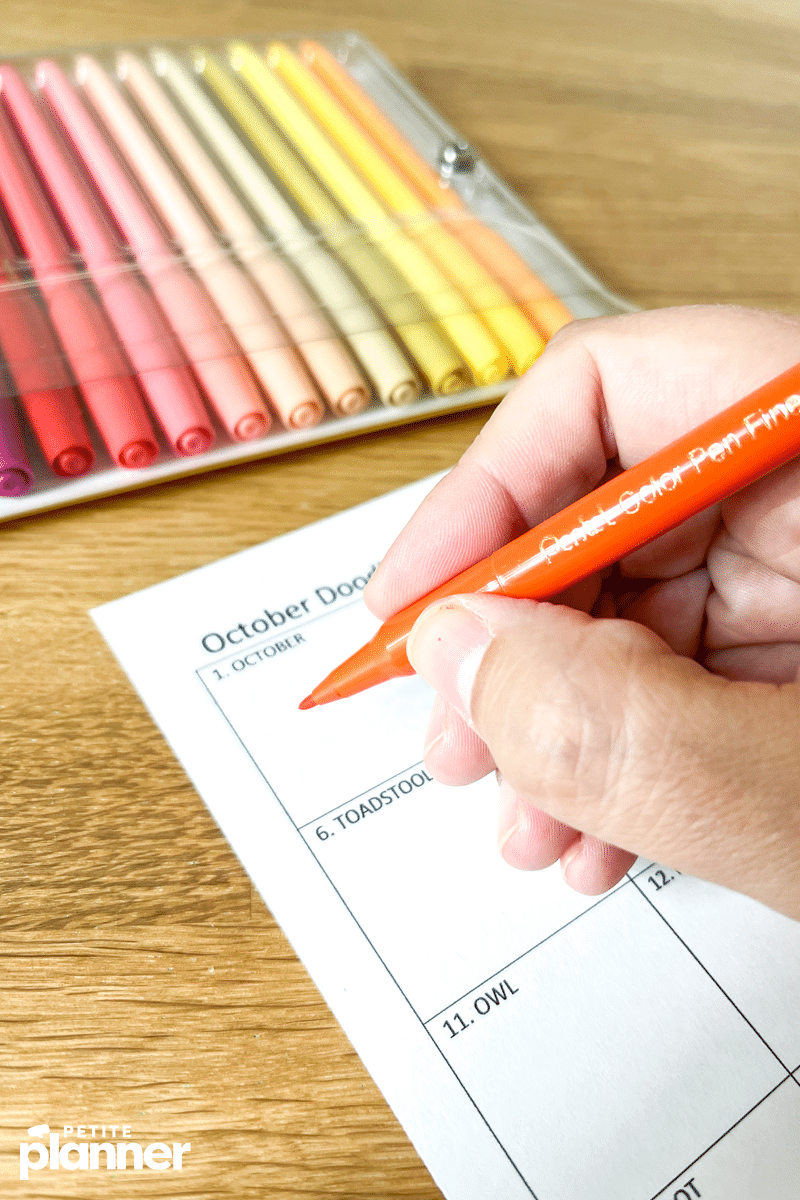 October Doodle Challenge Prompts and Free Printable