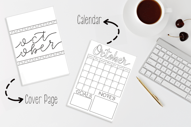 October 2018 Bullet Journal Setup Printable