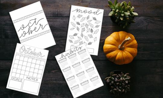 October 2018 Bullet Journal Setup Printable