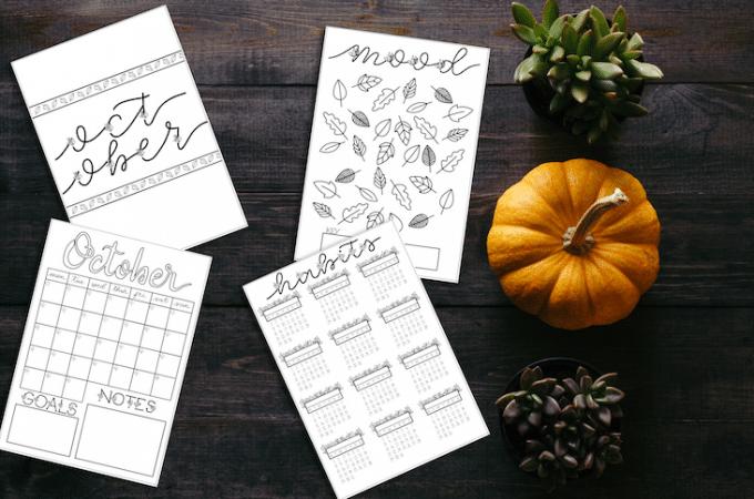 October 2018 Bullet Journal Setup Printable + Freebie