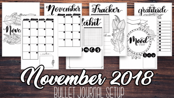 November 2018 Printable Bullet Journal Setup