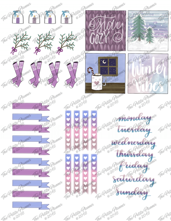 Printable December and January Stickers for your bullet journal