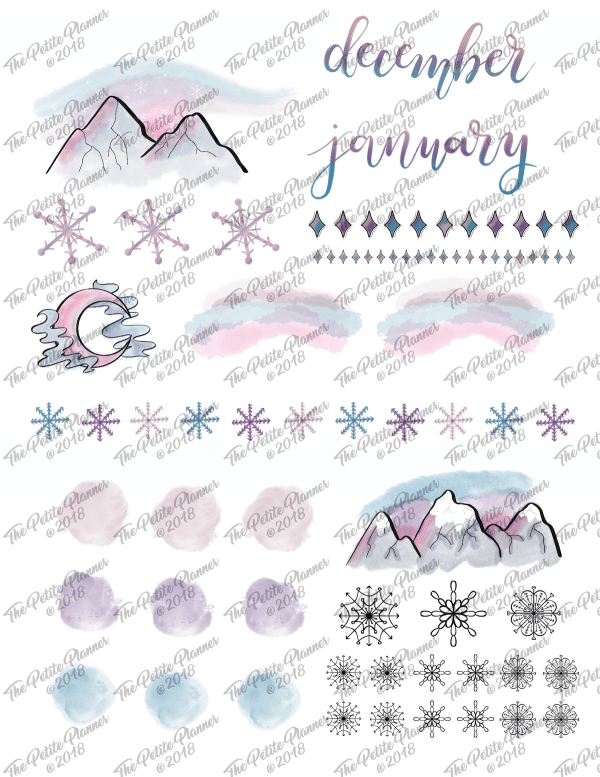 Printable Winter Stickers for Your Bullet Journal